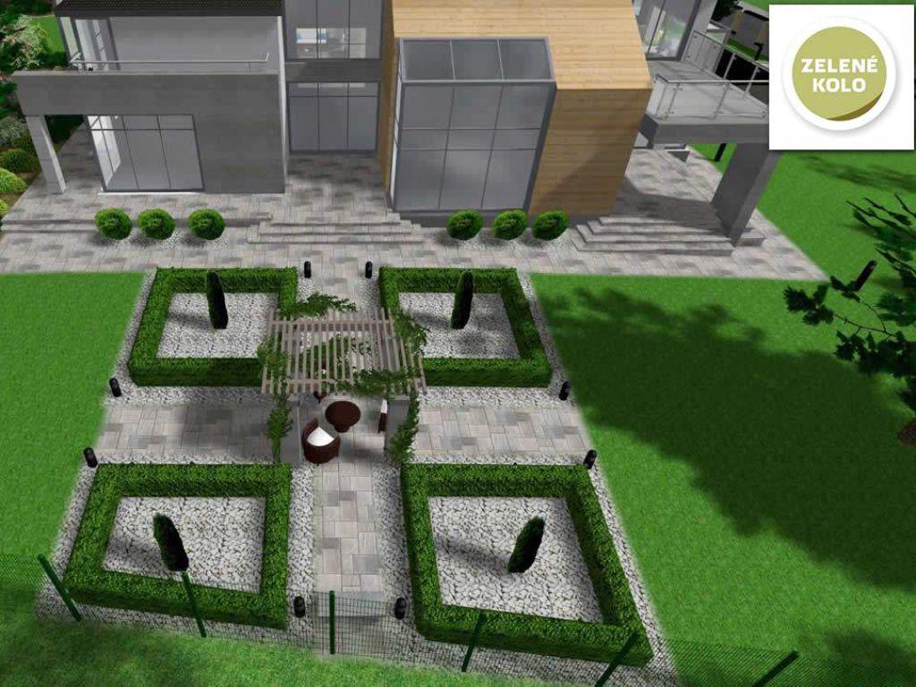 Moderní návrh zadního dvora veřejné knihovny
