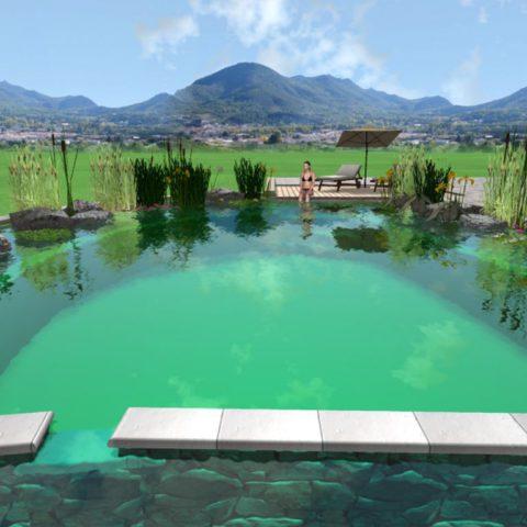 Koupací jezero a přepad do filtrační čistící části