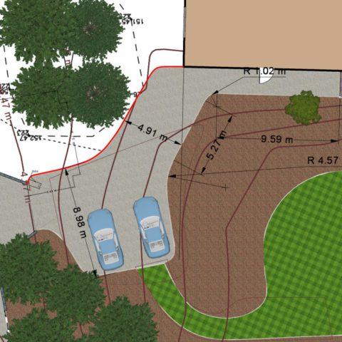 Kótování zahrady a zpevněných ploch pro terénní úpravy