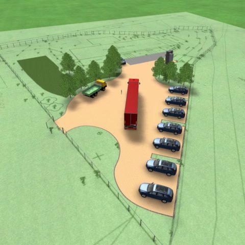 Perspektiva parkoviště pro firemní vozy
