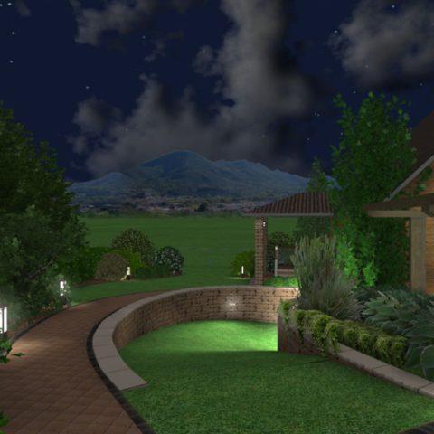 Vizualizace osvětlení v projektu zahrady vstupní část