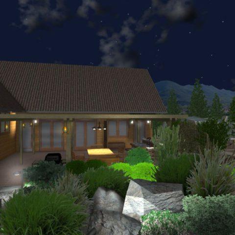 Vizualizace osvětlení v projektu zahrady