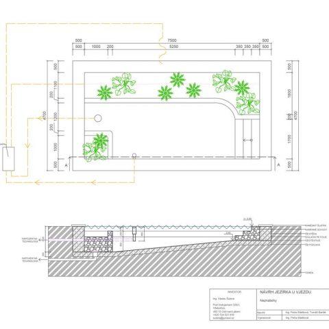 Technický detail půdorys a řez zahradního jezírka