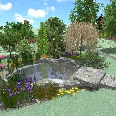 Jezírko v zahradě s kamenným můstkem