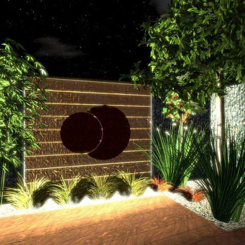 Osvětlení v zahradě - corten jako designový a funkční prvek