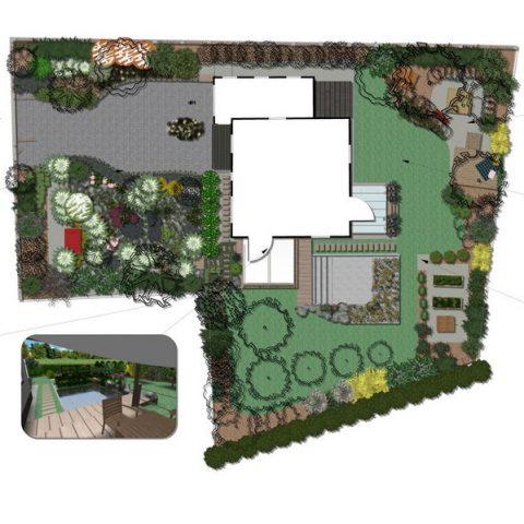Půdorys zahrady s pohledy