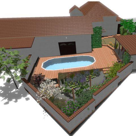 Posezení u bazénu a zahrada bez trávníku