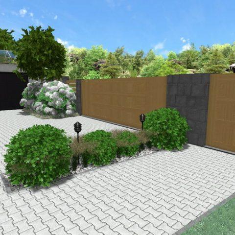 Redukujeme zpevněnou plochu - ostrůvek s tvarovanou cesmínou, trávami a osvětlením