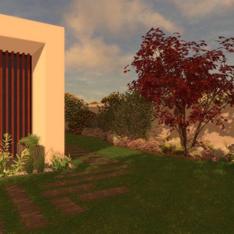Zahrada s asymetrickou dlažbou a červenolistým javorem javorem